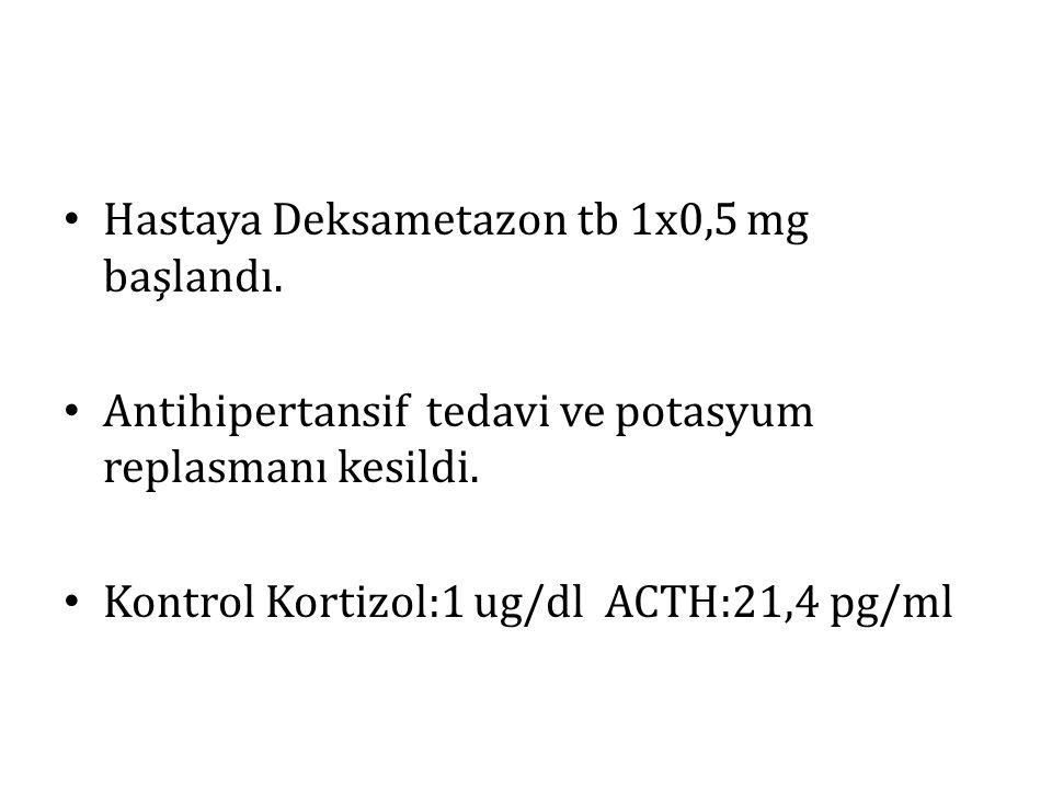 Hastaya Deksametazon tb 1x0,5 mg başlandı. Antihipertansif tedavi ve potasyum replasmanı kesildi. Kontrol Kortizol:1 ug/dl ACTH:21,4 pg/ml