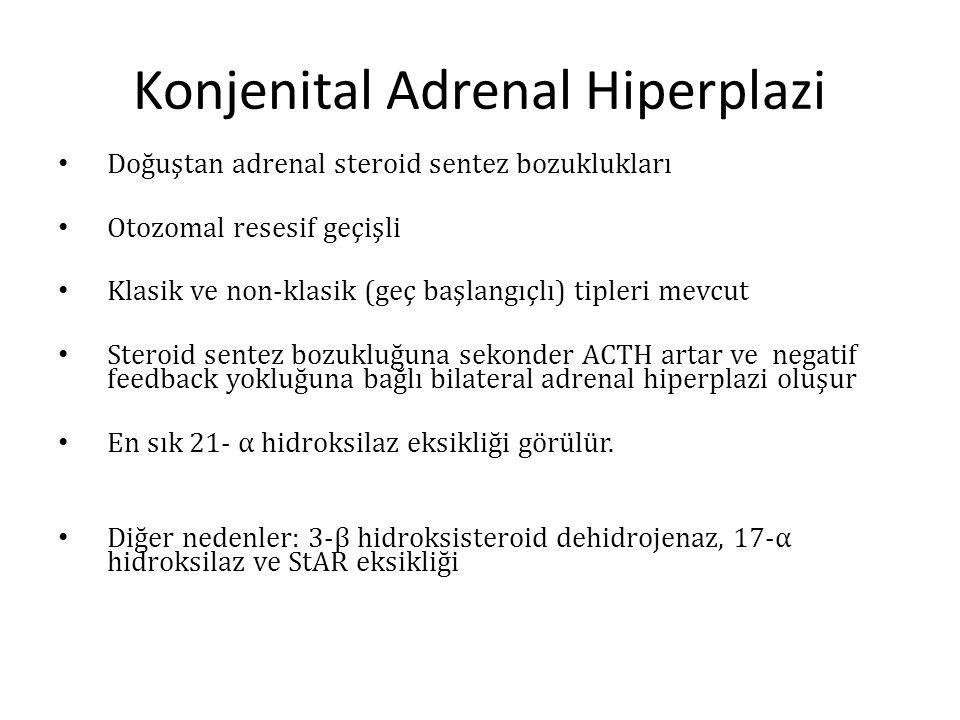Konjenital Adrenal Hiperplazi Doğuştan adrenal steroid sentez bozuklukları Otozomal resesif geçişli Klasik ve non-klasik (geç başlangıçlı) tipleri mev
