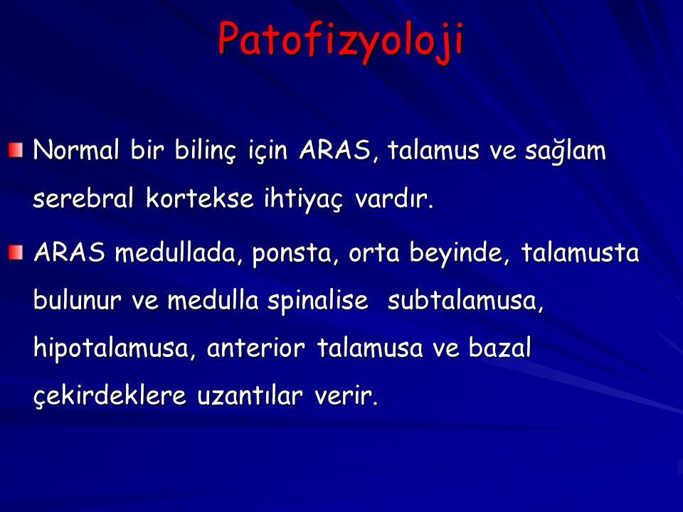 Patofizyoloji Normal bir bilinç için ARAS, talamus ve sağlam serebral kortekse ihtiyaç vardır.