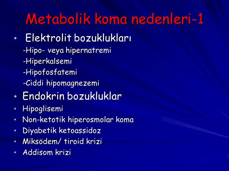 Metabolik koma nedenleri-1 Elektrolit bozuklukları Elektrolit bozuklukları -Hipo- veya hipernatremi -Hipo- veya hipernatremi -Hiperkalsemi -Hiperkalsemi -Hipofosfatemi -Hipofosfatemi -Ciddi hipomagnezemi -Ciddi hipomagnezemi Endokrin bozukluklar Endokrin bozukluklar Hipoglisemi Hipoglisemi Non-ketotik hiperosmolar koma Non-ketotik hiperosmolar koma Diyabetik ketoassidoz Diyabetik ketoassidoz Miksödem/ tiroid krizi Miksödem/ tiroid krizi Addisom krizi Addisom krizi
