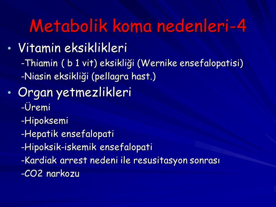Metabolik koma nedenleri-4 Vitamin eksiklikleri Vitamin eksiklikleri -Thiamin ( b 1 vit) eksikliği (Wernike ensefalopatisi) -Thiamin ( b 1 vit) eksikliği (Wernike ensefalopatisi) -Niasin eksikliği (pellagra hast.) -Niasin eksikliği (pellagra hast.) Organ yetmezlikleri Organ yetmezlikleri -Üremi -Üremi -Hipoksemi -Hipoksemi -Hepatik ensefalopati -Hepatik ensefalopati -Hipoksik-iskemik ensefalopati -Hipoksik-iskemik ensefalopati -Kardiak arrest nedeni ile resusitasyon sonrası -Kardiak arrest nedeni ile resusitasyon sonrası -CO2 narkozu -CO2 narkozu