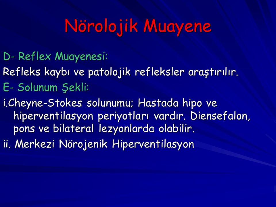 Nörolojik Muayene D- Reflex Muayenesi: Refleks kaybı ve patolojik refleksler araştırılır.