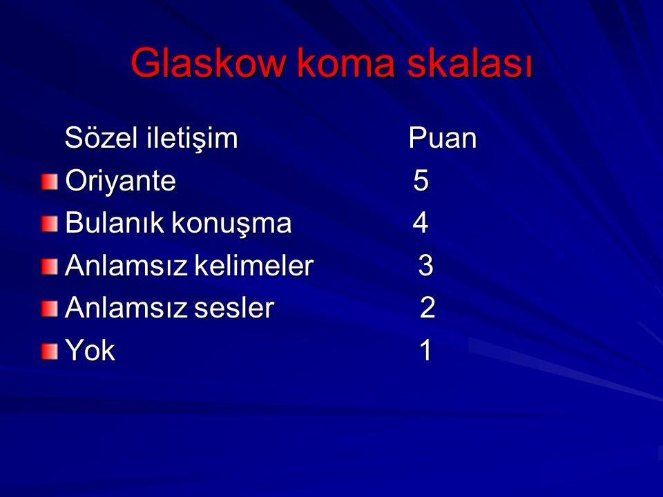 Glaskow koma skalası Sözel iletişim Puan Sözel iletişim Puan Oriyante 5 Bulanık konuşma 4 Anlamsız kelimeler 3 Anlamsız sesler 2 Yok 1