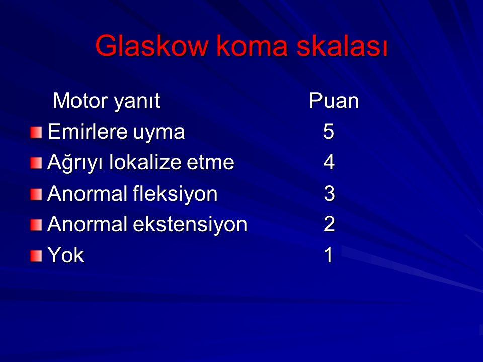 Glaskow koma skalası Motor yanıt Puan Motor yanıt Puan Emirlere uyma 5 Ağrıyı lokalize etme 4 Anormal fleksiyon 3 Anormal ekstensiyon 2 Yok 1