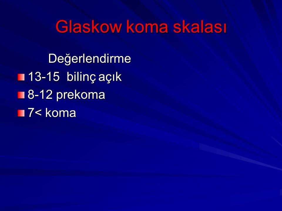 Glaskow koma skalası Değerlendirme Değerlendirme 13-15 bilinç açık 8-12 prekoma 7< koma