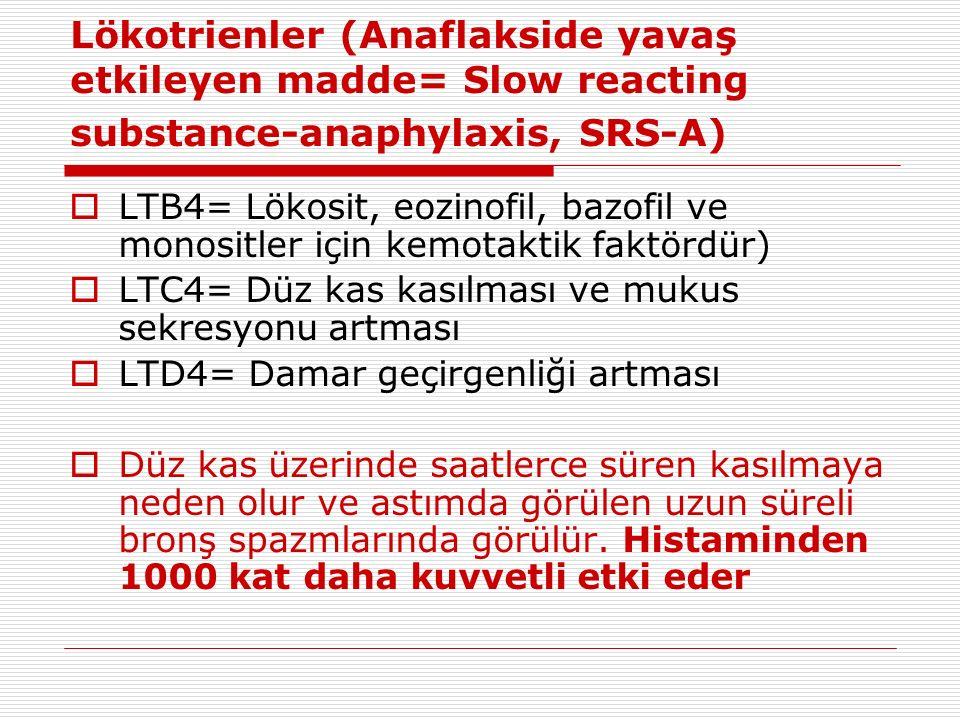 Lökotrienler (Anaflakside yavaş etkileyen madde= Slow reacting substance-anaphylaxis, SRS-A)  LTB4= Lökosit, eozinofil, bazofil ve monositler için kemotaktik faktördür)  LTC4= Düz kas kasılması ve mukus sekresyonu artması  LTD4= Damar geçirgenliği artması  Düz kas üzerinde saatlerce süren kasılmaya neden olur ve astımda görülen uzun süreli bronş spazmlarında görülür.