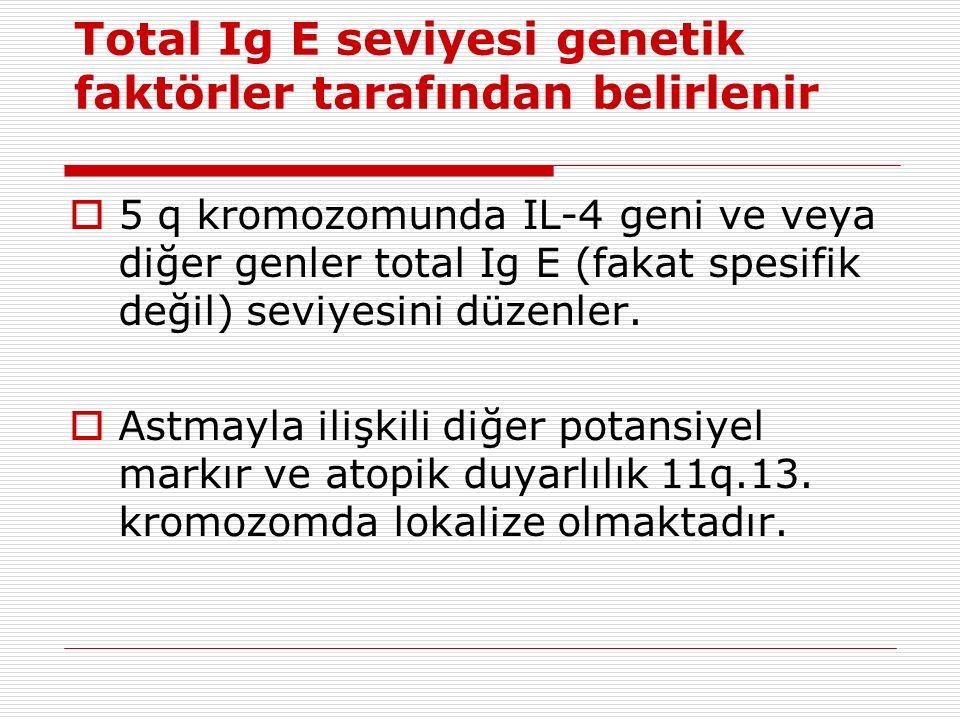 Total Ig E seviyesi genetik faktörler tarafından belirlenir  5 q kromozomunda IL-4 geni ve veya diğer genler total Ig E (fakat spesifik değil) seviyesini düzenler.