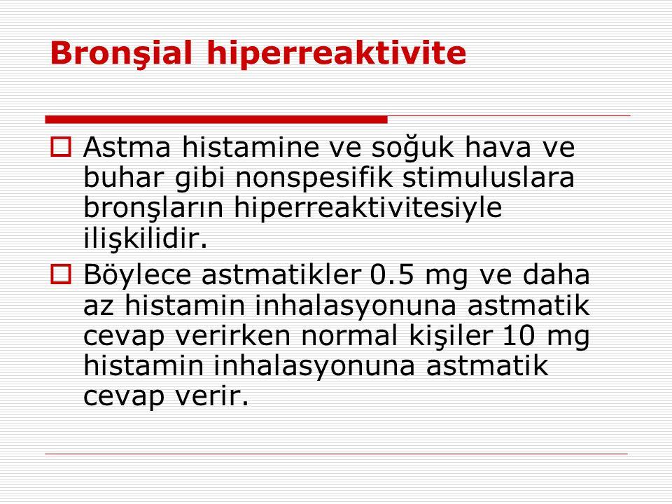 Bronşial hiperreaktivite  Astma histamine ve soğuk hava ve buhar gibi nonspesifik stimuluslara bronşların hiperreaktivitesiyle ilişkilidir.