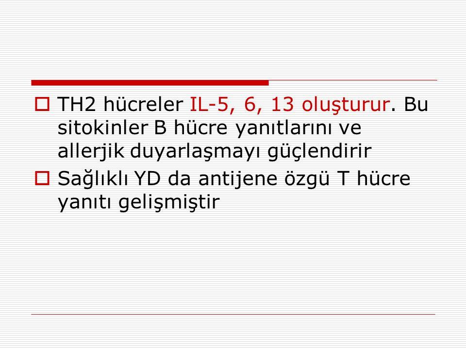  TH2 hücreler IL-5, 6, 13 oluşturur.