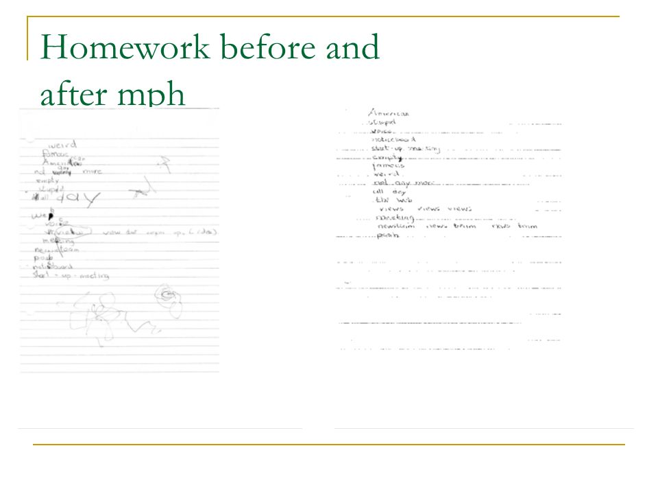 Homework before and after mph