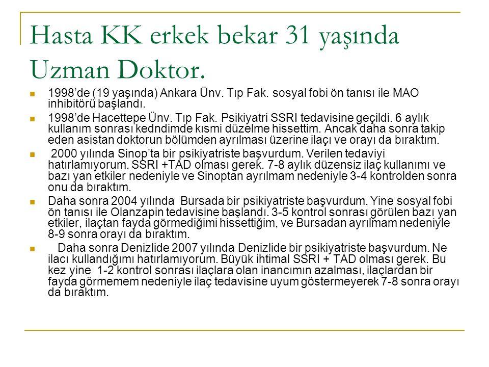 Hasta KK erkek bekar 31 yaşında Uzman Doktor. 1998'de (19 yaşında) Ankara Ünv.