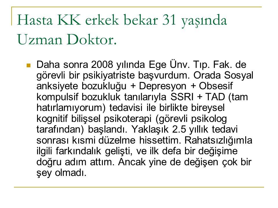 Hasta KK erkek bekar 31 yaşında Uzman Doktor. Daha sonra 2008 yılında Ege Ünv.
