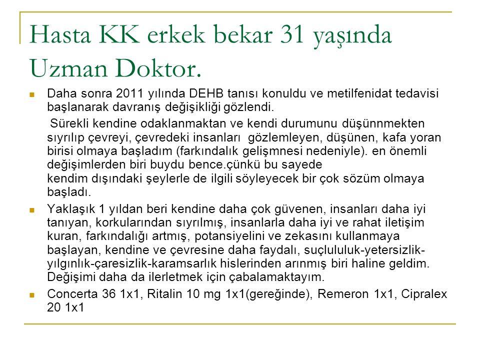 Hasta KK erkek bekar 31 yaşında Uzman Doktor.