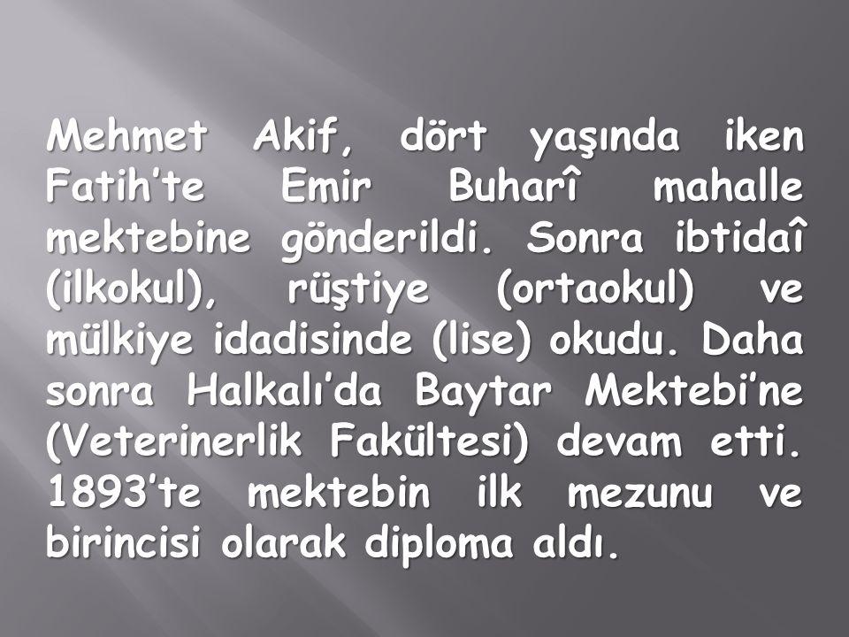 Mehmet Akif, dört yaşında iken Fatih'te Emir Buharî mahalle mektebine gönderildi.