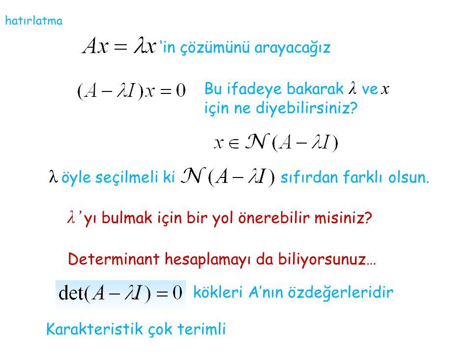'in çözümünü arayacağız Bu ifadeye bakarak λ ve x için ne diyebilirsiniz? λ öyle seçilmeli ki sıfırdan farklı olsun. λ' yı bulmak için bir yol önerebi