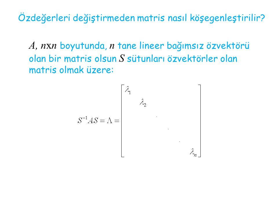 Özdeğerleri değiştirmeden matris nasıl köşegenleştirilir? A, nxn boyutunda, n tane lineer bağımsız özvektörü olan bir matris olsun S sütunları özvektö