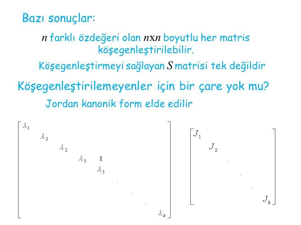 Bazı sonuçlar: n farklı özdeğeri olan nxn boyutlu her matris köşegenleştirilebilir. Köşegenleştirmeyi sağlayan S matrisi tek değildir Köşegenleştirile