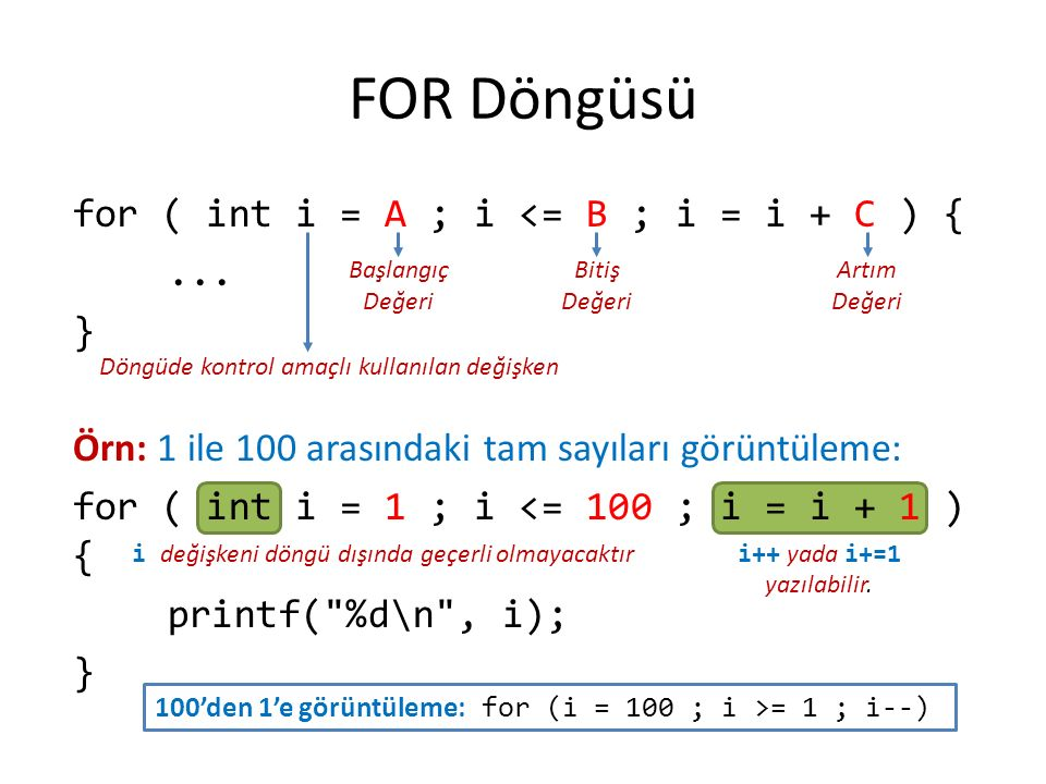 FOR Döngüsü for ( int i = A ; i <= B ; i = i + C ) {...