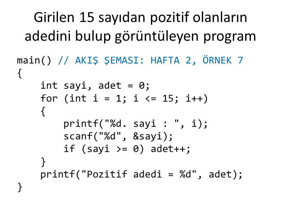 Girilen 15 sayıdan pozitif olanların adedini bulup görüntüleyen program main() // AKIŞ ŞEMASI: HAFTA 2, ÖRNEK 7 { int sayi, adet = 0; for (int i = 1;