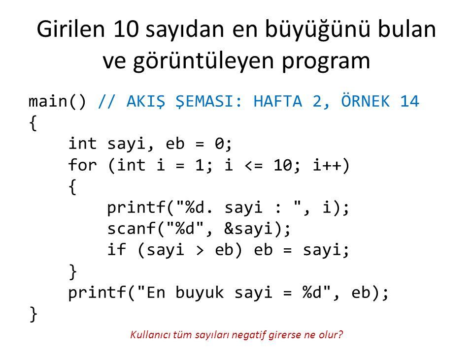 Girilen 10 sayıdan en büyüğünü bulan ve görüntüleyen program main() // AKIŞ ŞEMASI: HAFTA 2, ÖRNEK 14 { int sayi, eb = 0; for (int i = 1; i <= 10; i++