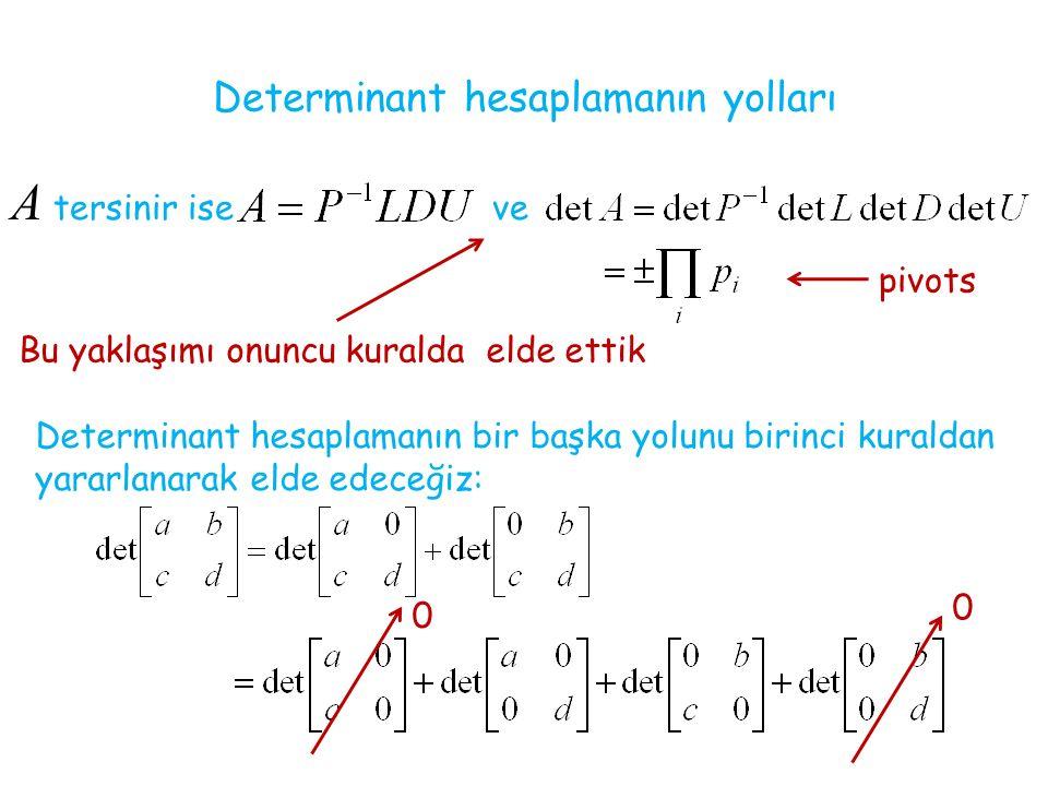 Determinant hesaplamanın yolları A tersinir ise ve Bu yaklaşımı onuncu kuralda elde ettik Determinant hesaplamanın bir başka yolunu birinci kuraldan yararlanarak elde edeceğiz: 0 0 pivots