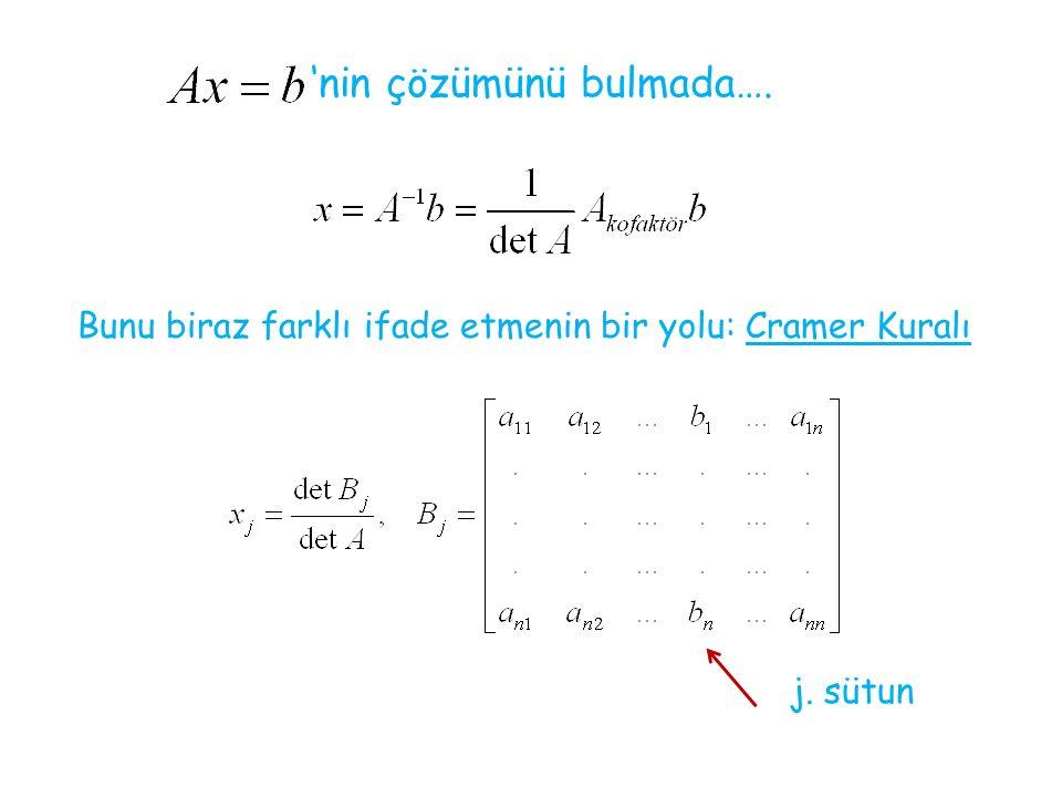 'nin çözümünü bulmada…. Bunu biraz farklı ifade etmenin bir yolu: Cramer Kuralı j. sütun