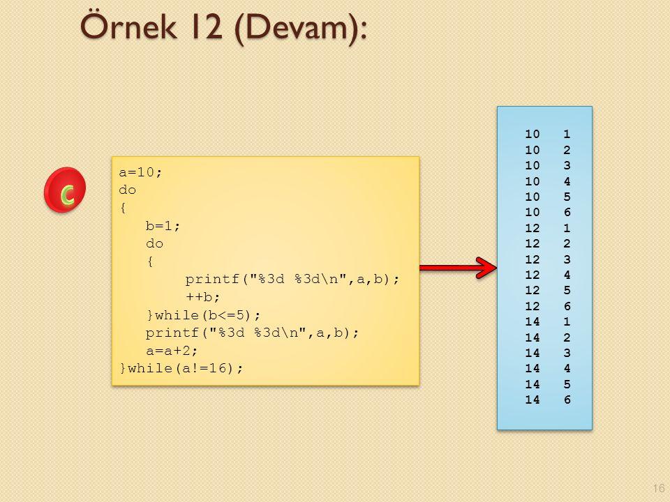 Örnek 12 (Devam): a=10; do { b=1; do { printf( %3d %3d\n ,a,b); ++b; }while(b<=5); printf( %3d %3d\n ,a,b); a=a+2; }while(a!=16); a=10; do { b=1; do { printf( %3d %3d\n ,a,b); ++b; }while(b<=5); printf( %3d %3d\n ,a,b); a=a+2; }while(a!=16); 10 1 10 2 10 3 10 4 10 5 10 6 12 1 12 2 12 3 12 4 12 5 12 6 14 1 14 2 14 3 14 4 14 5 14 6 10 1 10 2 10 3 10 4 10 5 10 6 12 1 12 2 12 3 12 4 12 5 12 6 14 1 14 2 14 3 14 4 14 5 14 6 16