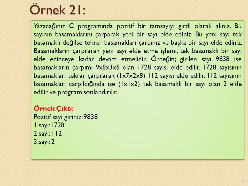 Örnek 21: Yazaca ğ ınız C programında pozitif bir tamsayıyı girdi olarak alınız.