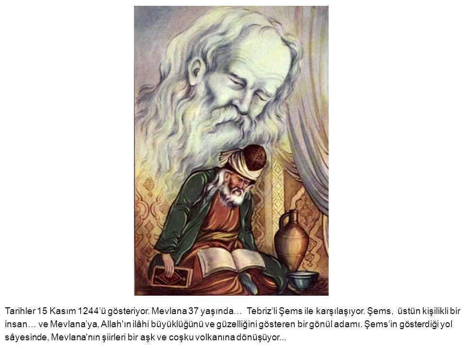 Tarihler 15 Kasım 1244'ü gösteriyor. Mevlana 37 yaşında… Tebriz'li Şems ile karşılaşıyor. Şems, üstün kişilikli bir insan… ve Mevlana'ya, Allah'ın ilâ