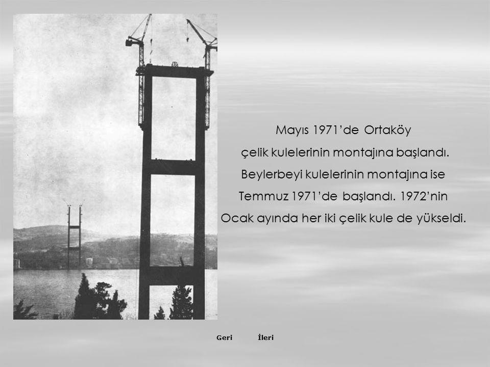 İleriGeri Aralık 1972'de ilk tabliye köprüye gerilen çelik halatlara, salıncak sistemiyle monte edilmeye başlandı.