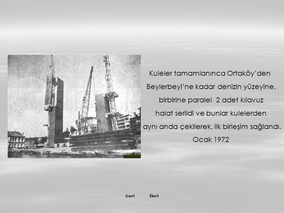 İleriGeri Kuleler tamamlanınca Ortaköy'den Beylerbeyi'ne kadar denizin yüzeyine, birbirine paralel 2 adet kılavuz halat serildi ve bunlar kulelerden aynı anda çekilerek, ilk birleşim sağlandı.