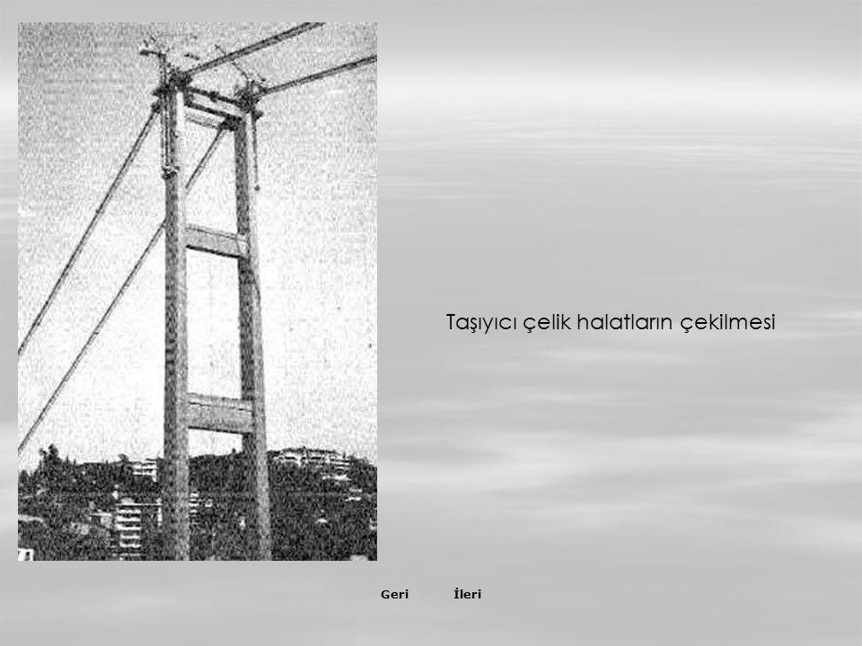 İleriGeri Kuleler tamamlanınca Ortaköy'den Beylerbeyi'ne kadar denizin yüzeyine, birbirine paralel 2 adet kılavuz halat serildi ve bunlar kulelerden a