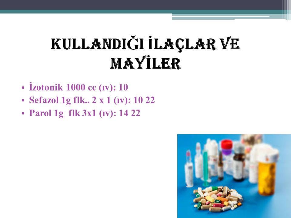 KullandI Ğ I İ laçlar ve May İ ler İzotonik 1000 cc (ıv): 10 Sefazol 1g flk..