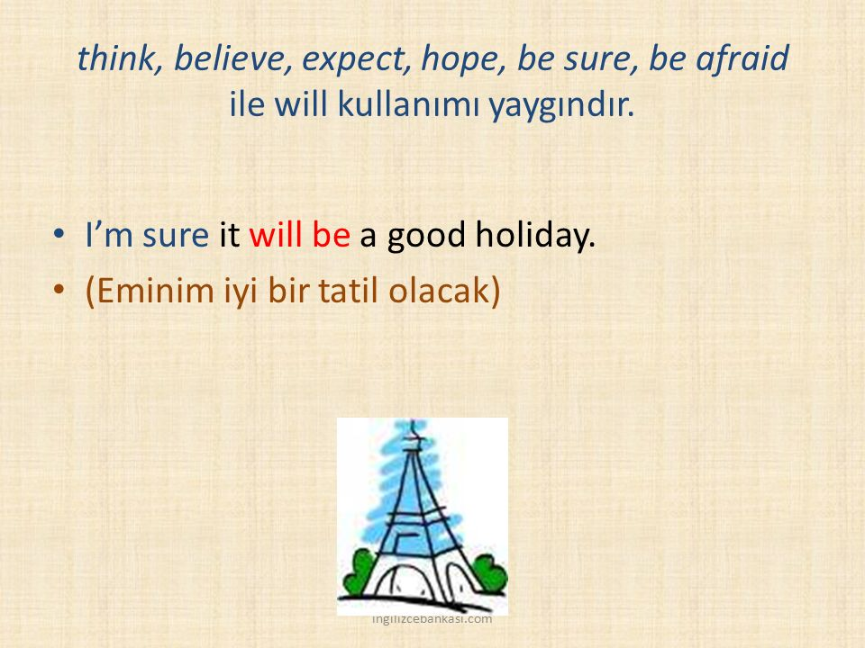 think, believe, expect, hope, be sure, be afraid ile will kullanımı yaygındır.