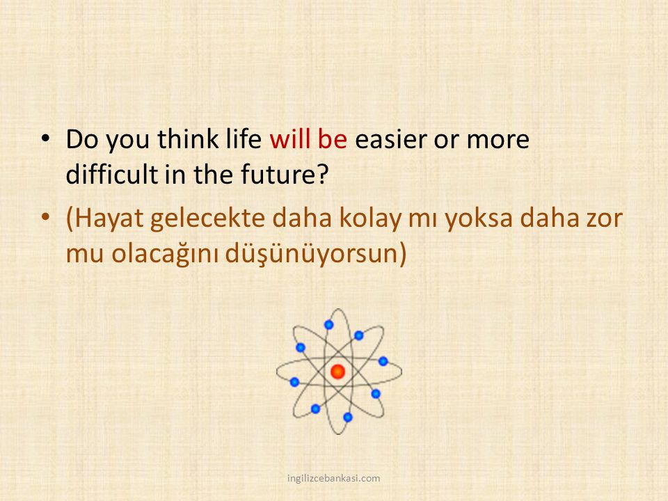 Do you think life will be easier or more difficult in the future.