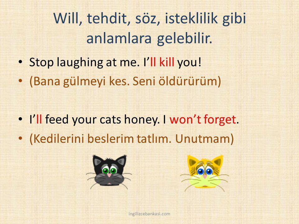 Will, tehdit, söz, isteklilik gibi anlamlara gelebilir. Stop laughing at me. I'll kill you! (Bana gülmeyi kes. Seni öldürürüm) I'll feed your cats hon