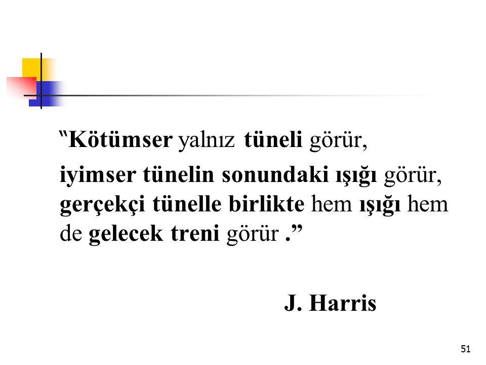 """51 """" Kötümser yalnız tüneli görür, iyimser tünelin sonundaki ışığı görür, gerçekçi tünelle birlikte hem ışığı hem de gelecek treni görür."""" J. Harris"""