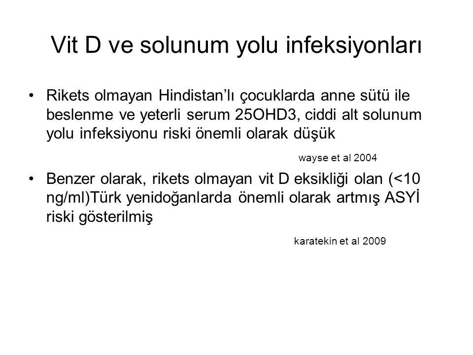 Vit D ve solunum yolu infeksiyonları Rikets olmayan Hindistan'lı çocuklarda anne sütü ile beslenme ve yeterli serum 25OHD3, ciddi alt solunum yolu infeksiyonu riski önemli olarak düşük wayse et al 2004 Benzer olarak, rikets olmayan vit D eksikliği olan (<10 ng/ml)Türk yenidoğanlarda önemli olarak artmış ASYİ riski gösterilmiş karatekin et al 2009