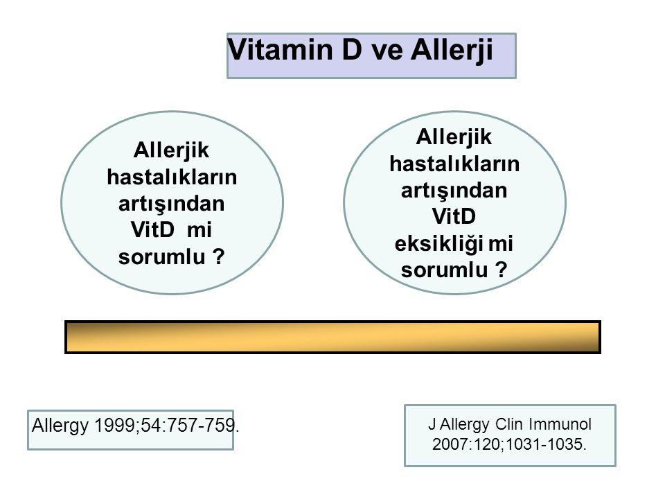 J Allergy Clin Immunol 2007:120;1031-1035. Allerjik hastalıkların artışından VitD mi sorumlu ? Allerjik hastalıkların artışından VitD eksikliği mi sor