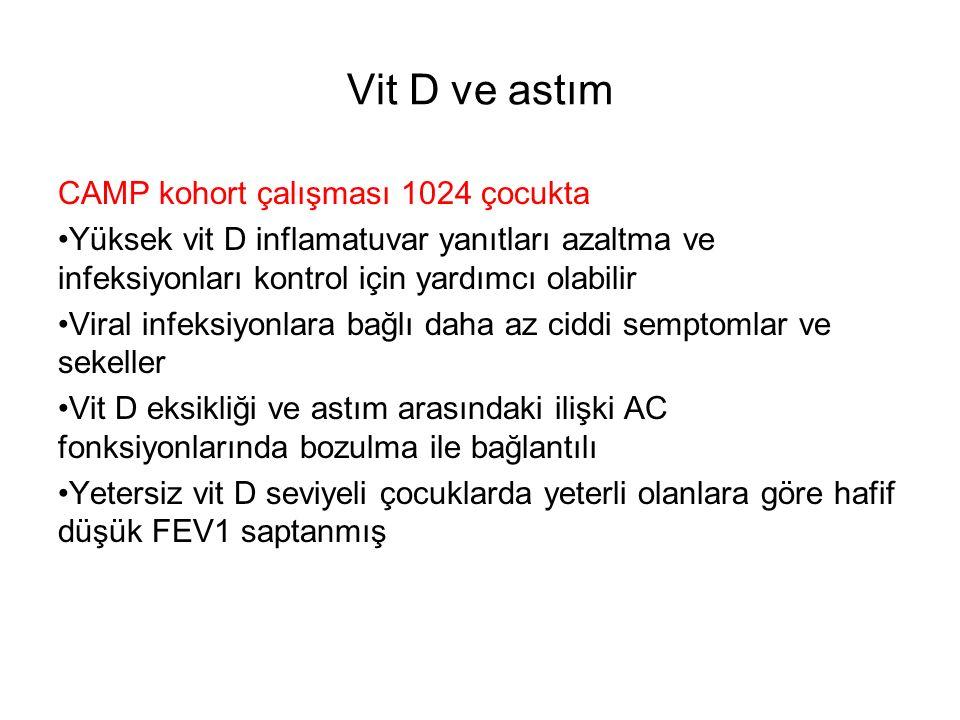 Vit D ve astım CAMP kohort çalışması 1024 çocukta Yüksek vit D inflamatuvar yanıtları azaltma ve infeksiyonları kontrol için yardımcı olabilir Viral infeksiyonlara bağlı daha az ciddi semptomlar ve sekeller Vit D eksikliği ve astım arasındaki ilişki AC fonksiyonlarında bozulma ile bağlantılı Yetersiz vit D seviyeli çocuklarda yeterli olanlara göre hafif düşük FEV1 saptanmış