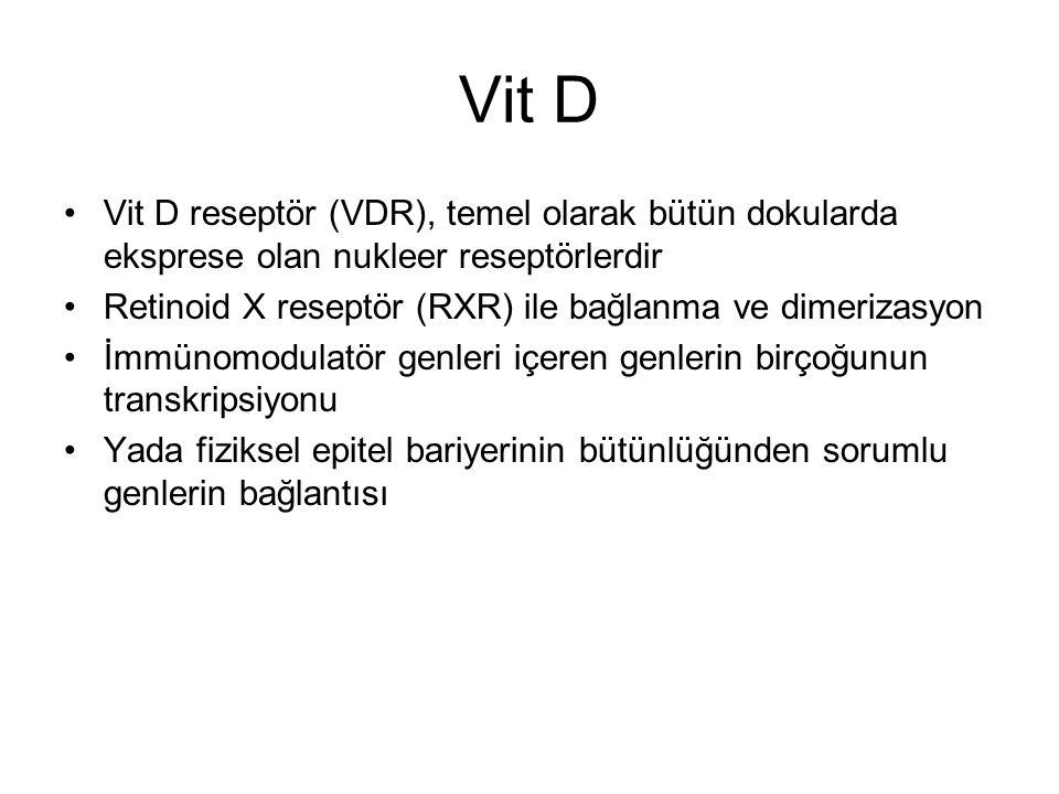 Vit D Vit D reseptör (VDR), temel olarak bütün dokularda eksprese olan nukleer reseptörlerdir Retinoid X reseptör (RXR) ile bağlanma ve dimerizasyon İ