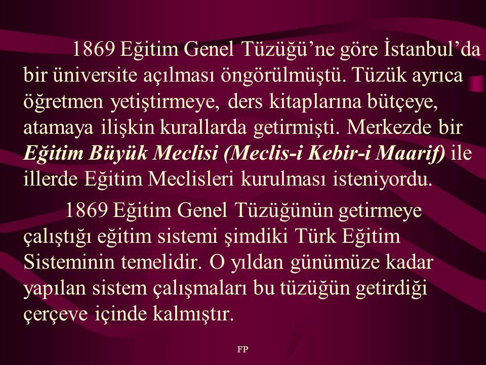 FP 1869 Eğitim Genel Tüzüğü'ne göre İstanbul'da bir üniversite açılması öngörülmüştü. Tüzük ayrıca öğretmen yetiştirmeye, ders kitaplarına bütçeye, at