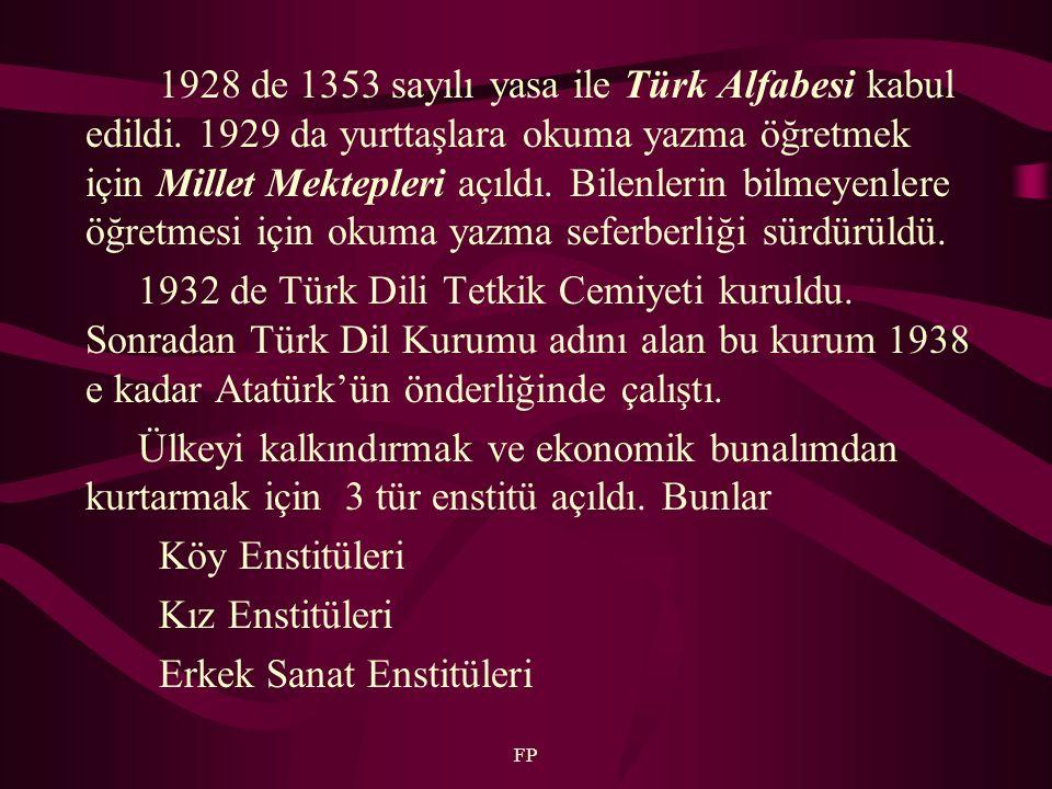 FP 1928 de 1353 sayılı yasa ile Türk Alfabesi kabul edildi. 1929 da yurttaşlara okuma yazma öğretmek için Millet Mektepleri açıldı. Bilenlerin bilmeye