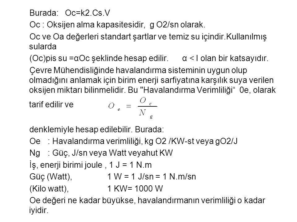 Burada: Oc=k2.Cs.V Oc : Oksijen alma kapasitesidir, g O2/sn olarak.