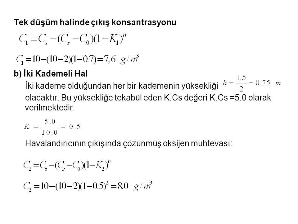 Tek düşüm halinde çıkış konsantrasyonu b) İki Kademeli Hal İki kademe olduğundan her bir kademenin yüksekliği olacaktır.