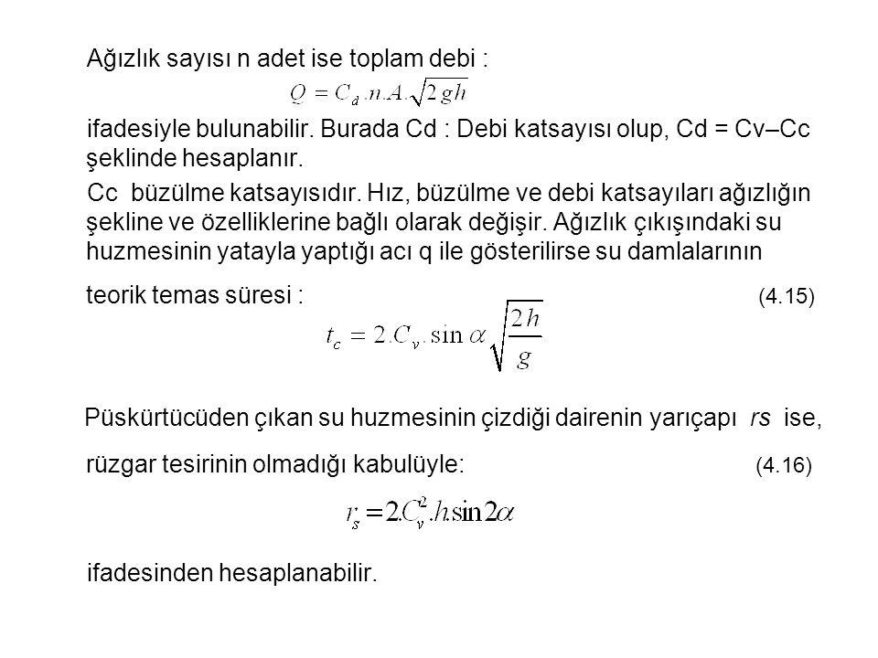 Ağızlık sayısı n adet ise toplam debi : ifadesiyle bulunabilir.