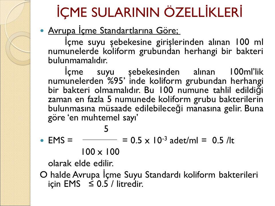Avrupa İ çme Standartlarına Göre; İ çme suyu şebekesine girişlerinden alınan 100 ml numunelerde koliform grubundan herhangi bir bakteri bulunmamalıdır.