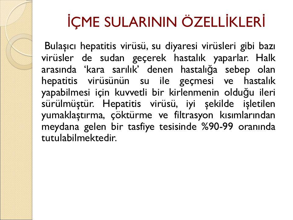 Bulaşıcı hepatitis virüsü, su diyaresi virüsleri gibi bazı virüsler de sudan geçerek hastalık yaparlar.