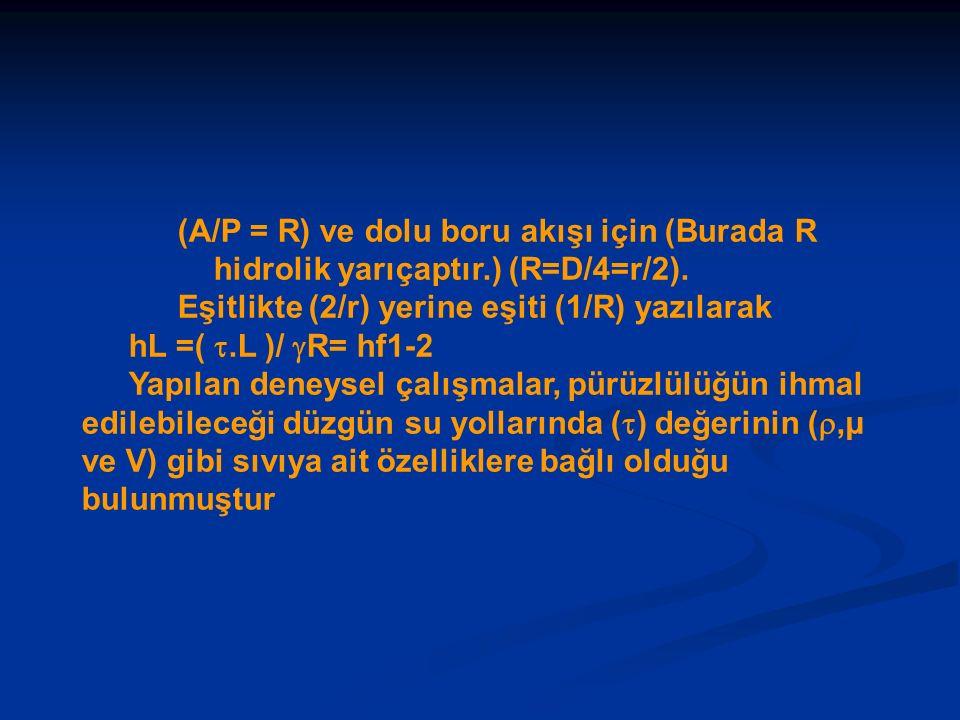(A/P = R) ve dolu boru akışı için (Burada R hidrolik yarıçaptır.) (R=D/4=r/2). Eşitlikte (2/r) yerine eşiti (1/R) yazılarak hL =( .L )/  R= hf1-2 Ya