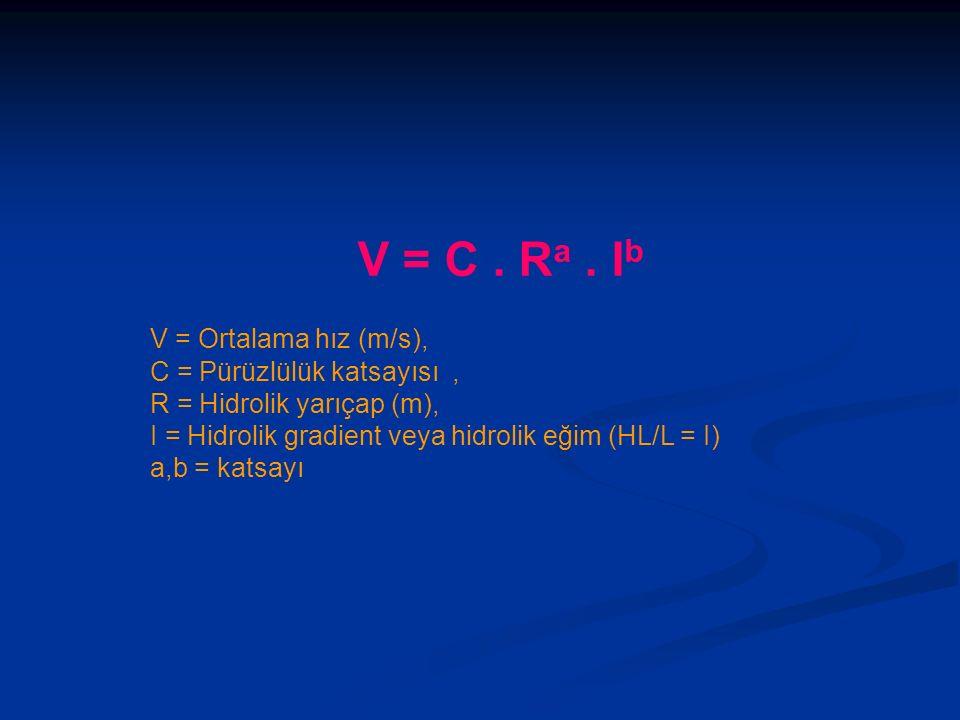 V = C. R a. I b V = Ortalama hız (m/s), C = Pürüzlülük katsayısı, R = Hidrolik yarıçap (m), I = Hidrolik gradient veya hidrolik eğim (HL/L = I) a,b =